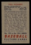 1951 Bowman #195   Paul Richards Back Thumbnail