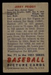 1951 #71  Jerry Priddy  Back Thumbnail