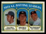 1972 Topps #86  191 AL Batting Leaders    -  Bobby Murcer / Tony Olivia / Merv Rettenmund Front Thumbnail