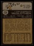 1973 Topps #114   Lynn McGlothen Back Thumbnail
