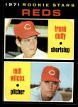 1971 Topps #164  Reds Rookies  -  Frank Duffy / Milt Wilcox Front Thumbnail