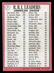 1969 Topps #3  AL RBI Leaders    -  Ken Harrelson / Frank Howard / Jim Northrup Back Thumbnail