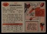 1957 Topps #14   Pat Summerall Back Thumbnail