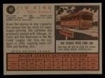 1962 Topps #42   Jim King Back Thumbnail