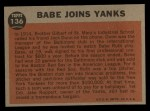 1962 Topps #136 A Babe Joins Yanks  -  Babe Ruth Back Thumbnail