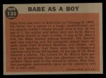 1962 Topps #135 A Babe as a Boy  -  Babe Ruth Back Thumbnail