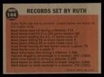 1962 Topps #144 A  -  Babe Ruth Farewell Speech Back Thumbnail