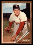 1962 Topps #285   Curt Simmons Front Thumbnail