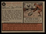 1962 Topps #36  Don Leppert  Back Thumbnail