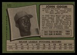 1971 Topps #523   Blue Moon Odom Back Thumbnail
