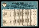 1965 Topps #91  Cubs Team  Back Thumbnail