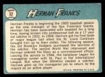 1965 Topps #32   Herman Franks Back Thumbnail