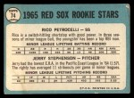 1965 Topps #74  Red Sox Rookies  -  Rico Petrocelli / Jerry Stephenson Back Thumbnail