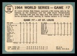 1965 Topps #138  1964 World Series - Game #7 - Gibson Wins Finale  -  Bob Gibson Back Thumbnail