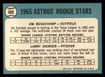 1965 Topps #409  Astros Rookies  -  Jim Beauchamp / Larry Dierker Back Thumbnail
