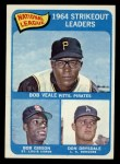 1965 Topps #12  1964 NL Strikeout Leaders  -  Don Drysdale / Bob Gibson / Bob Veale Front Thumbnail