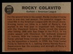 1962 Topps #472  All-Star  -  Rocky Colavito Back Thumbnail