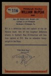 1955 Bowman #116  Bill McPeak  Back Thumbnail