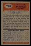 1955 Bowman #85   Joe Arenas Back Thumbnail