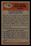 1955 Bowman #25  Ollie Matson  Back Thumbnail