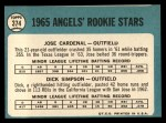 1965 Topps #374  Angels Rookies  -  Jose Cardenal / Dick Simpson Back Thumbnail
