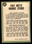 1967 Topps #287  Mets Rookies  -  Greg Goossen / Bart Shirley Back Thumbnail