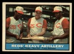 1961 Topps #25  Reds Heavy Artillery  -  Vada Pinson / Gus Bell / Frank Robinson Front Thumbnail