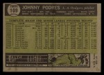 1961 Topps #109  Johnny Podres  Back Thumbnail