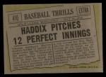 1961 Topps #410  Haddix Pitches 12 Perfect Innings  -  Harvey Haddix Back Thumbnail