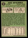 1967 Topps #13   Joe Sparma Back Thumbnail