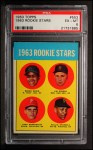 1963 Topps #553  Rookies  -  Willie Stargell / Jim Gosger / Brock Davis / John Herrnstein Front Thumbnail