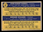 1970 Topps #401  Giants Rookies  -  John Harrell / Bernie Williams Back Thumbnail