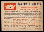 1960 Fleer #3   Babe Ruth Back Thumbnail