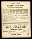 1933 Goudey #229   Arky Vaughan Back Thumbnail
