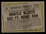 1961 Topps #406  Mantle Blasts 565 FT. Home Run  -  Mickey Mantle Back Thumbnail