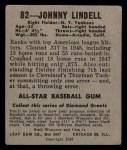1949 Leaf #82   Johnny Lindell Back Thumbnail