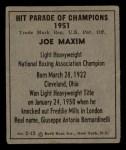 1951 Berk Ross #12 B Boxer  -  Joe Maxim Back Thumbnail