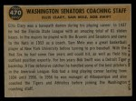 1960 Topps #470  Senators Coaches  -  Bob Swift / Ellis Clary / Sam Mele Back Thumbnail