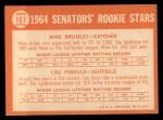 1964 Topps #167  Senators Rookies  -  Lou Piniella / Mike Brumley Back Thumbnail