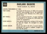 1964 Topps #153  Oakland Raiders  Back Thumbnail