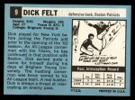 1964 Topps #9   Dick Felt Back Thumbnail