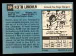 1964 Topps #164   Keith Lincoln Back Thumbnail