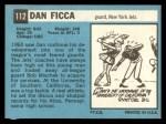 1964 Topps #112   Dan Ficca Back Thumbnail