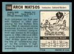1964 Topps #144   Archie Matsos Back Thumbnail
