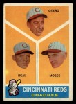 1960 Topps #459   -  Reggie Otero / Cot Deal / Wally Moses Reds Coaches Front Thumbnail