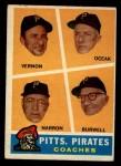 1960 Topps #467  Pirates Coaches  -  Bill Burwell / Frank Oceak / Sam Narron / Mickey Vernon Front Thumbnail