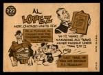 1960 Topps #222  Al Lopez  Back Thumbnail