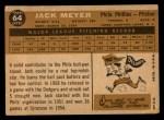 1960 Topps #64   Jack Meyer Back Thumbnail