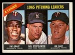 1966 Topps #224  1965 AL Pitching Leaders  -  Jim Grant / Jim Kaat / Mel Stottlemyre Front Thumbnail