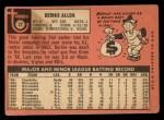 1969 Topps #27  Bernie Allen  Back Thumbnail